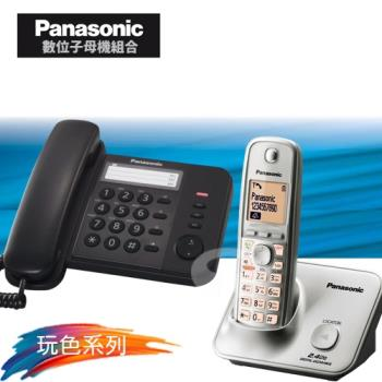 Panasonic 松下國際牌數位子母機電話組合 KX-TS520+KX-TG3711 (經典黑+時尚銀)