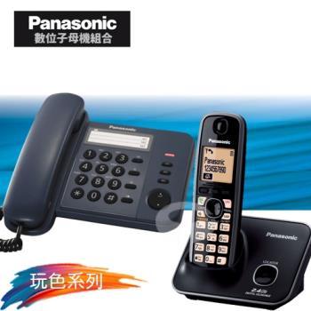 Panasonic 松下國際牌數位子母機電話組合 KX-TS520+KX-TG3711 (經典藍+經典黑)