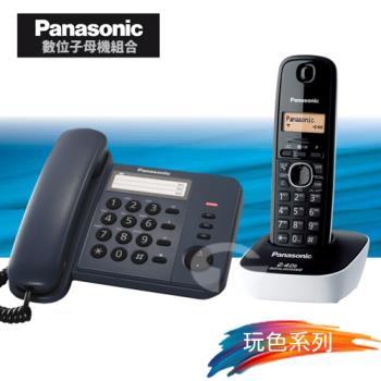 Panasonic 松下國際牌數位子母機電話組合 KX-TS520+KX-TG3411 (經典藍+海灘藍)