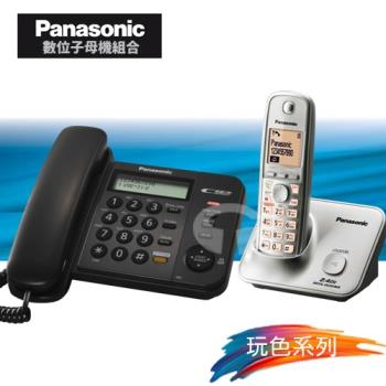 Panasonic 松下國際牌數位子母機電話組合 KX-TS580+KX-TG3711 (經典黑+時尚銀)