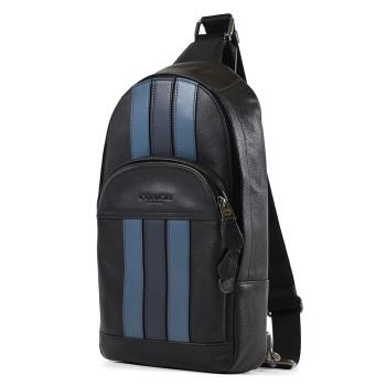 COACH 男款 線條荔枝紋雙層置物單肩背胸包-黑色