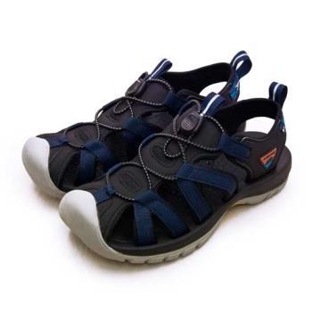 【LOTTO】專業護趾戶外運動涼鞋 冒險者系列 藍黑灰 1926 男