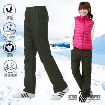 【遊遍天下】女款顯瘦防風防潑水抗寒保暖刷毛褲/雪褲P106墨綠