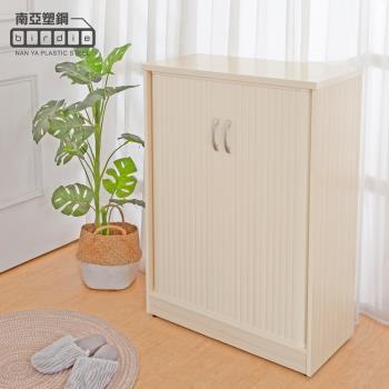 Birdie南亞塑鋼-2.4尺雙捲門防水塑鋼鞋櫃(白橡色)