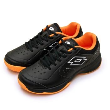 【LOTTO】男 全地形入門級網球鞋 SPACE 600系列 附贈橘色鞋帶(黑橘 2230)