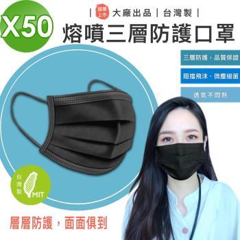 【AL】股票上市 大廠出品 台灣製 熔噴三層口罩  曜石黑色 50入 (成人大人溶噴不織布抑菌抗菌)