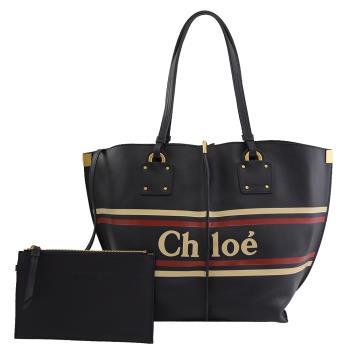 CHLOE 品牌徽章LOGO小牛皮肩背托特包.深藍