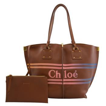 CHLOE 品牌徽章LOGO小牛皮肩背托特包.咖