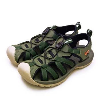 【LOTTO】男 專業護趾戶外運動涼鞋 冒險者系列(軍綠棕 1925)