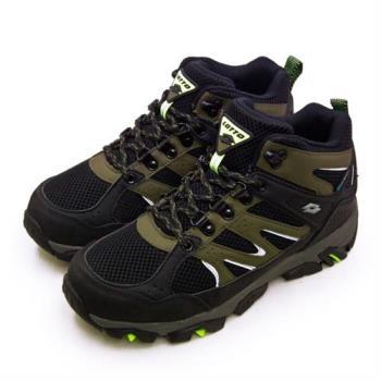 【LOTTO】男 專業多功能防水郊山戶外健行登山鞋 SABRE MID 3系列(黑軍綠 1255)