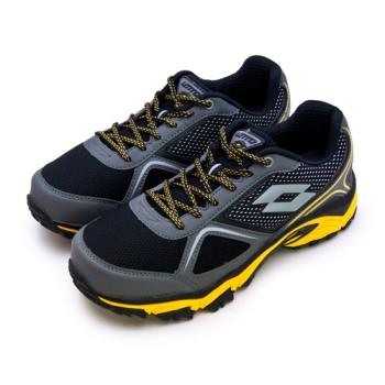 【LOTTO】男 專業防潑水郊山越野跑鞋 CROSS RUN 跨越叢林系列(黑灰黃 0150)