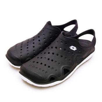 【LOTTO】男 戶外休閒輕潮洞洞鞋 排水透氣涼鞋系列(黑 0910)