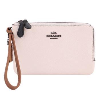 COACH- 灰馬車雙色皮革L型雙拉鍊手拿包(米白X粉紫)