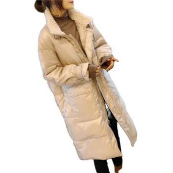 【米蘭精品】羽絨外套白鴨絨夾克-立領羊羔毛大口袋過膝女外套2色73zc26