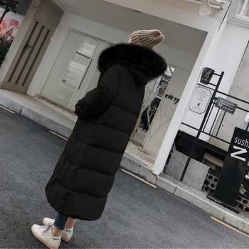 【米蘭精品】羽絨外套白鴨絨夾克-狐狸毛領連帽寬鬆過膝女外套3色73zc20
