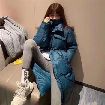 【米蘭精品】羽絨外套白鴨絨夾克-純色寬鬆過膝長款女外套3色73zc19