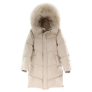 【米蘭精品】羽絨外套白鴨絨夾克-連帽大毛領蓬鬆過膝女外套3色73zc1