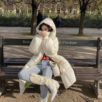 【米蘭精品】羽絨外套白鴨絨夾克-連帽蓬鬆過膝長款女外套3色73zc14