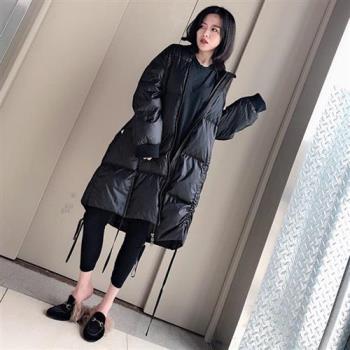 【米蘭精品】羽絨外套白鴨絨夾克-黑色立領寬鬆過膝女外套73zc38