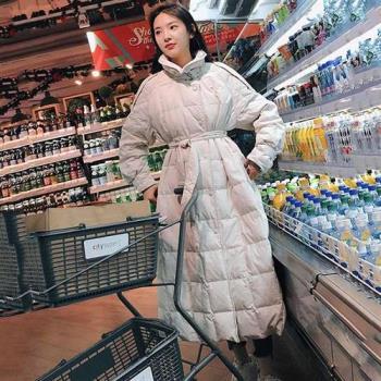 【米蘭精品】羽絨外套白鴨絨夾克-寬鬆過膝時尚純色女外套3色73zc46
