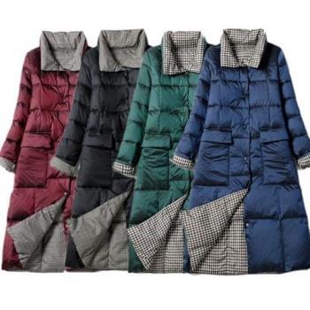 【米蘭精品】羽絨外套白鴨絨夾克-雙面穿格子過膝立領女外套4色73zc45