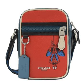 COACH 2431 蜘蛛人造型斜背手機包.紅/藍