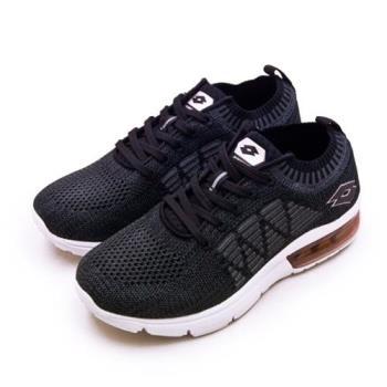 【LOTTO】女 透涼飛織緩震氣墊慢跑鞋 COOL KNIT 系列(灰黑 0620)
