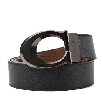 COACH 男款 鐵灰C字釦頭雙面用寬版皮帶-黑色/棕色