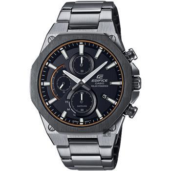 CASIO卡西歐EDIFICE輕薄八角設計太陽能計時手錶-黑/鐵灰44mmEFS-S570DC-1A