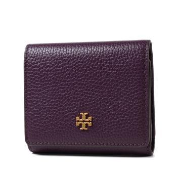 TORY BURCH 金字荔枝紋釦式三折短夾-深紫