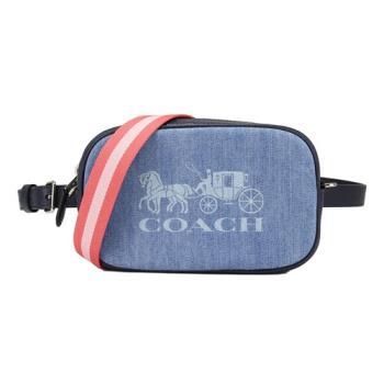 COACH JES牛仔布拼接皮革小型手拿腰胸掛斜背相機包(牛仔色)