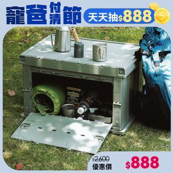 日本霜山 工業風耐重摺疊置物收納箱-75L-2色可選