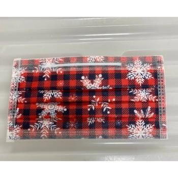 和拓紅色格紋白色雪花醫療口罩必收藏【MD+MIT雙鋼印】(3 袋)