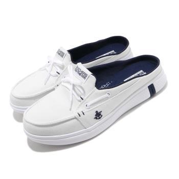 Skechers 拖鞋 Glide Ultra Sail 穆勒鞋 女鞋 瑜珈鞋墊 輕便 好穿脫 休閒鞋 白 藍 16121WNV [ACS 跨運動]