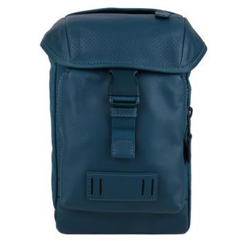 COACH 洞洞皮革拼帆布壓釦直式男側/胸包(藍綠)