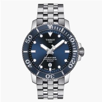 TISSOT天梭T1204071104101/Seastar海洋之星矽游絲潛水機械錶/80小時動力儲存/43mm