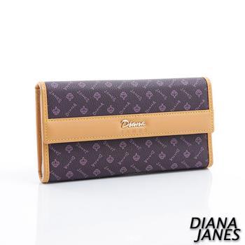 Diana Janes 經典LOGO 牛皮三折長夾-紫
