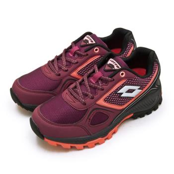 【LOTTO】女 專業防潑水郊山越野跑鞋 CROSS RUN 跨越叢林系列(葡紫黑 1052)