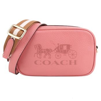 COACH  壓印大馬車皮革白駝織帶側斜背/腰包兩用包(桃粉)mini