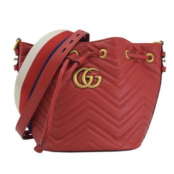 GUCCI 476674 GG Marmont 絎縫紋牛皮兩用水桶包.紅