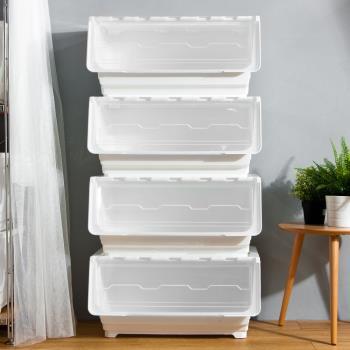 Mr.box 59大面寬典雅斜口上掀式可堆疊附輪加厚收納箱(72公升-4入組)-透明款 / 純白款