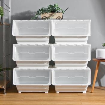 Mr.box  45大面寬典雅斜口上掀式可堆疊附輪加厚收納箱(54公升-6入組)-透明款 / 純白款 / 粉藍款