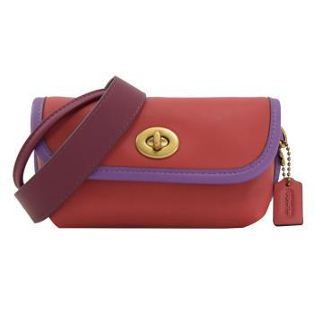 COACH 316 拼色牛皮雙背帶三用腰包.紫紅