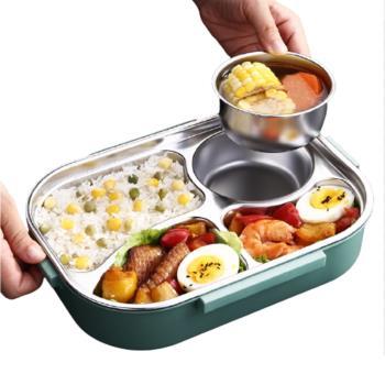PUSH!餐具用品304不銹鋼保溫飯盒保鮮盒分格便當盒兒童便攜餐盒E155
