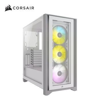 Corsair 海盜船iCUE 4000X RGB鋼化玻璃中塔式ATX電腦機殼—白色