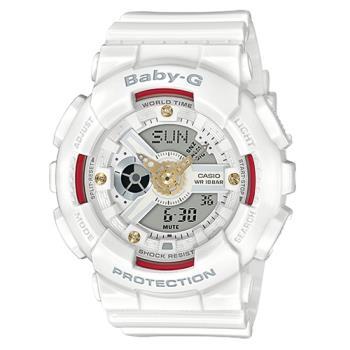 【CASIO 卡西歐】BABY G 雙顯女錶 橡膠錶帶 白色 防水100米(BA-110DDR-7A)