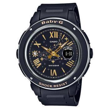 【CASIO 卡西歐】BABY-G 雙顯 女錶 橡膠錶帶 黑色 防水100米 世界時間 (BGA-150ST-1A)