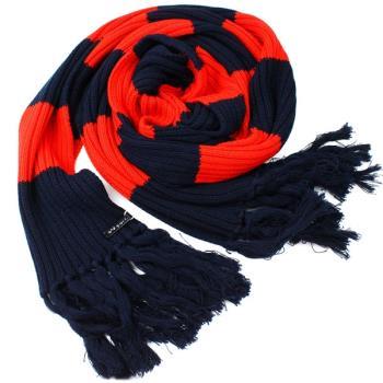 【agnes b.】時尚粗橫條撞色 針織保暖長圍巾 _紅+深藍