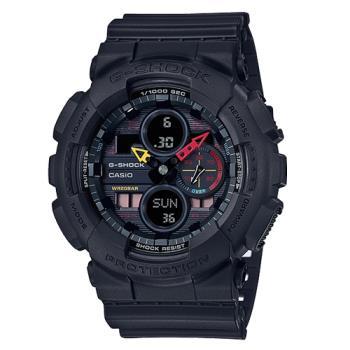 【CASIO 卡西歐】G-SHOCK 霓彩防磁雙顯男錶 霧黑 防水200米(GA-140BMC-1A)