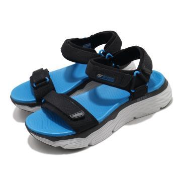 Skechers涼鞋MaxCushioningSandal男加厚中底避震緩衝魔鬼氈回彈黑藍229010BKBL